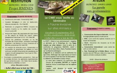 REPORT de la RESTITUTION du projet RMINE et SEMINAIRE «faune invasive» le 18/09/2015 à l'IRD