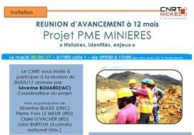 Invitation : présentation de l'avancement des travaux du projet PME MINIERES «histoires, identités, enjeux»
