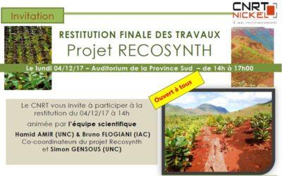 INVITATION : Restitution finale des travaux du Projet RECOSYNTH le 04/12/17