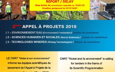 2eme APPELS A PROJETS SCIENTIFIQUES 2018 – DATE DE SOUMISSION REPORTÉE