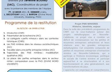 INVITATION à la RESTITUTION du Projet PME MINIERES le 26/11/18 & 27/11/18