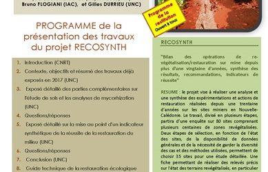 INVITATION à la RESTITUTION du Projet RECOSYNTH le 10/12/18