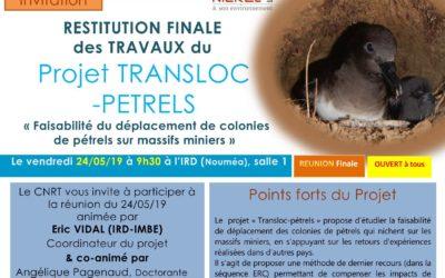 INVITATION à la RESTITUTION FINALE du Projet TRANSLOC-PETREL le 24/05/19