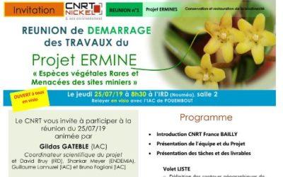 INVITATION à la RÉUNION DE DÉMARRAGE DES TRAVAUX du Projet ERMINE le 25/07/19