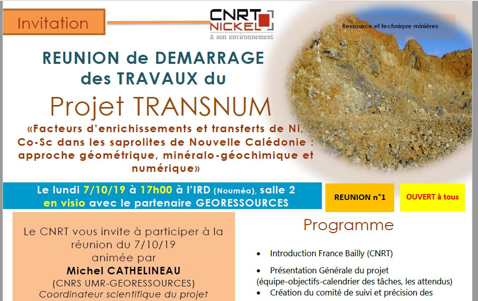 INVITATION à la RÉUNION DE DÉMARRAGE DES TRAVAUX du Projet TRANSNUM le 07/10/19