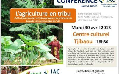 Restitution de l'enquête IAC sur l'agriculture en tribu – [avril 2013]