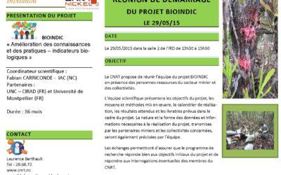 Réunion de démarrage du projet BIOINDIC le 29/05/15