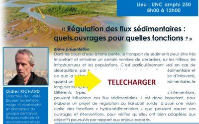 Télécharger : la présentation de la formation « Régulation des flux sédimentaires : quels ouvrages pour quelles fonctions ? » du 21/04/17