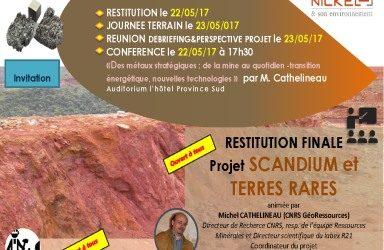 Invitation : WORKSHOP du Projet SCANDIUM & TERRES RARES du 22 au 23/05/2017