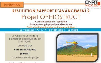 INVITATION : Restitution année 2 du projet OPHIOSTRUCT le 17/11/17