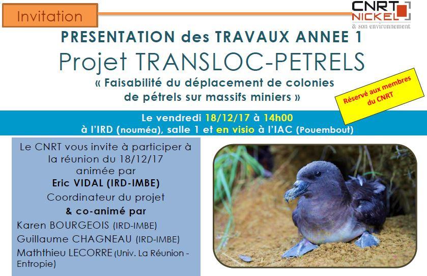 INVITATION : Restitution des 12 mois de travaux du projet TRANSLOC-PETRELS le 18/12/17