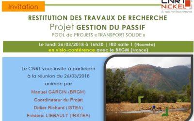 INVITATION à la restitution des travaux du projet GESTION DU PASSIF – Le 26/03/2018