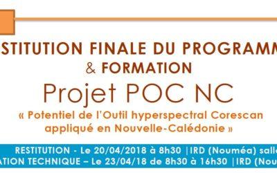 INVITATION à la restitution & à la formation technique des travaux du projet POC NC  – Le 20/04/2018 & 23/04/2018