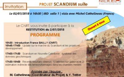 TELECHARGER : la présentation de la RESTITUTION FINALE du Projet SCANDIUM (suite) le 02/07/2018
