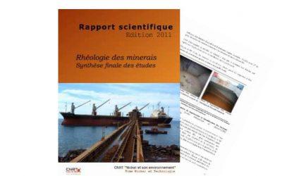 Rapport scientifique du Projet RHEOLOGIE : Rhéologie des minerais latéritiques pour le transport maritime – Edition 2011
