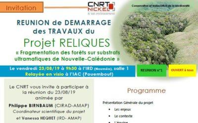 INVITATION à la RÉUNION DE DÉMARRAGE DES TRAVAUX du Projet RELIQUES le 23/08/19