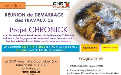 INVITATION à la RÉUNION DE DÉMARRAGE DES TRAVAUX du Projet CHRONICK le 08/11/19