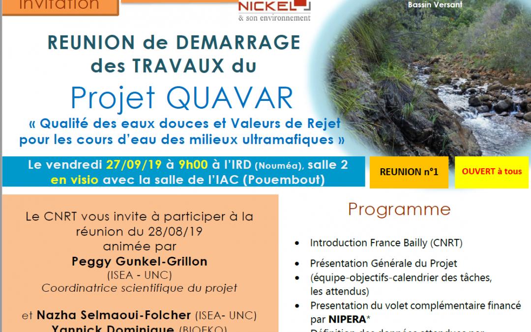 INVITATION à la RÉUNION DE DÉMARRAGE DES TRAVAUX du Projet QUAVAR le 27/09/19
