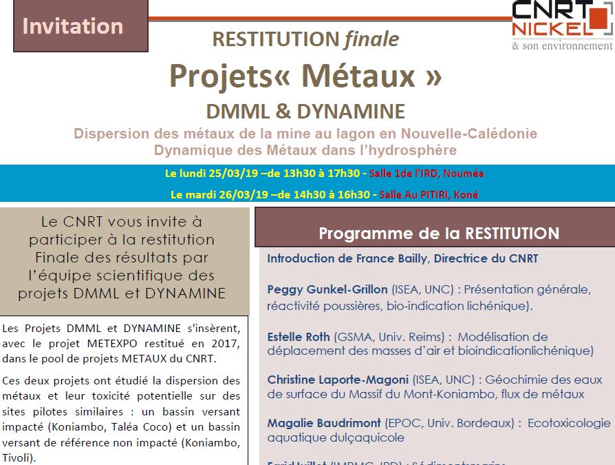 INVITATION à la RESTITUTION FINALE des Projets DMML et DYNAMINE [Pool Métaux] le 25/03/19