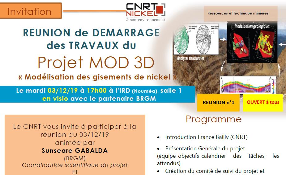 INVITATION à la RÉUNION DE DÉMARRAGE DES TRAVAUX du Projet MOD 3D le 03/12/19
