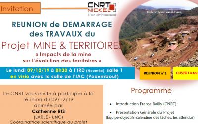 INVITATION à la RÉUNION DE DÉMARRAGE DES TRAVAUX du Projet MINE & TERRITOIRES le 09/12/19