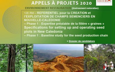 APPEL A PROJETS : REFERENTIEL pour la CREATION et l'EXPLOITATION DE CHAMPS SEMENCIERS EN NOUVELLE-CALEDONIE  – Phase 1 : Expertise préalable de la filière « graines »  | Specifications for setting up and operating seed plots in New Caledonia – Phase 1 : Baseline study for the seed production chain [18/03/2020-01/05/2020]
