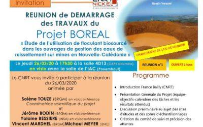 INVITATION à la RÉUNION DE DÉMARRAGE DES TRAVAUX du Projet BOREAL, Etude del'utilisation de floculant biosourcé dans les ouvrages de gestion des eaux de ruissellement sur mines en Nouvelle-Calédonie,  le 26/03/20