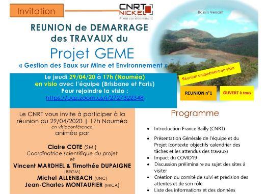 INVITATION à la RÉUNION DE DÉMARRAGE DES TRAVAUX du Projet GEME, Gestion des Eaux et Environnement  le 29/04/20