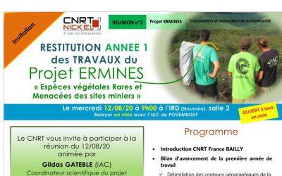 INVITATION à la RÉUNION DE RESTITUTION DES TRAVAUX ANNEE 1 du Projet ERMINES, Espèces végétales Rares et Menacées des sites miniers  le 12/08/20