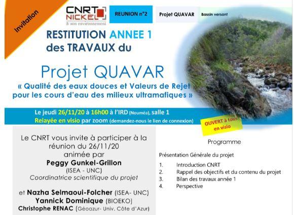 INVITATION à la RÉUNION DE RESTITUTION DES TRAVAUX ANNEE 1 du Projet QUAVAR, Qualité des eaux douces et valeurs de rejet pour les cours d'eau des milieux ultramafiques –  le 26/11/20