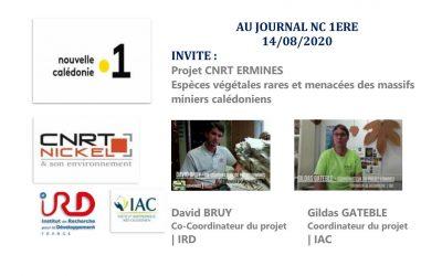 ECOUTER : EMISSION RADIO NC 1ère au « Journal du midi » avec l'équipe du projet ERMINES du 14/08/20