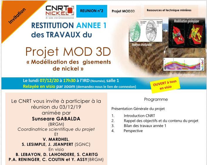INVITATION à la RÉUNION de RESTITUTION DES TRAVAUX ANNEE 1 du Projet MOD3D, Modélisation des gisements de nickel  –  le 07/12/20