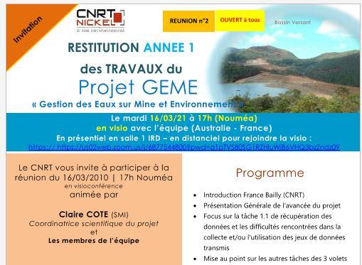 INVITATION à la RÉUNION de RESTITUTION DES TRAVAUX ANNEE 1 du Projet GEME, Gestion des Eaux sur Mine et Environnement –  le 16/03/2021