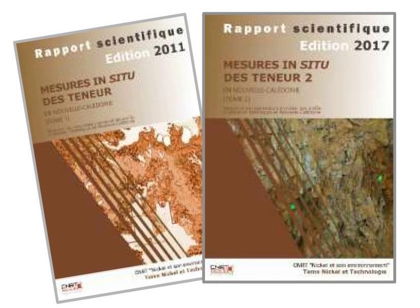 2 rapports scientifiques liés au Projet MESURE IN SITU : Mesure in situ des teneurs en nickel des profils d'altération latéritiques en Nouvelle-Calédonie – Edition 2011 & 2017