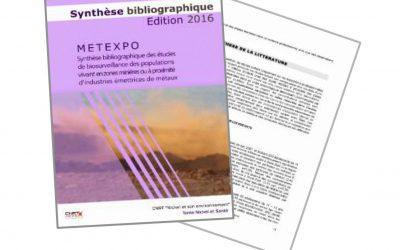 Synthèse bibliographique sur les études de biosurveillance des populations vivant en zones minières ou à proximité d'industrie émettrices de métaux, liée au programme METEXPO – Edition2016