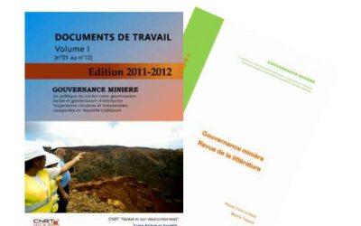 Documents de travail volume I, n°01 au n°10, liés au projet Gouvernance Minière  – Edition 2011