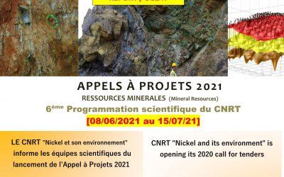 REPORT/DELAY : APPEL A PROJETS RESSOURCES MINIERES [15/07/2021] Étude de préfaisabilité du traitement des minerais de nickel, calédoniens non valorisées actuellement par des procédés minéralurgiques